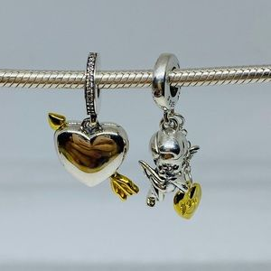 Arrow of Cupid/Cupid & You Heart Dangle Charm set